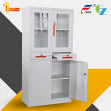 High quality full high glass&metal door cabinet bookcase for cupboard with drawers