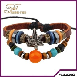 European and American fashion transport bead bracelet gold leather bracelet