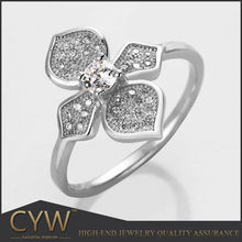 CYW Fashion 925 sterling silver flower ring bisuteria beautitul jewelry of silver zircon flower ring wholesale from China