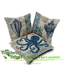 SEA octopus conch Ikea Vintage cotton and Linen pillow cases marine decor cushion cover pillow case