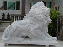hand carved antique marble lion statues for sale