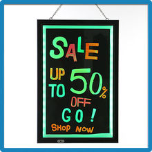 CE/ROHS neon led lighting battery writable sign notice board