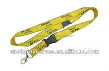 Yellow polyester lanyard with metal hook, safety gave away clip and plastic buckle
