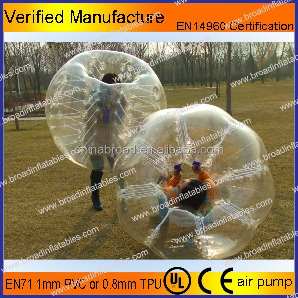 PVC or TPU inflatable bubble football for kids or adults