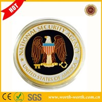 Quality Products Colorful US National Security Agency 24k Gold Plated Coin, NSA Challenge Coin With Eagle For Collection