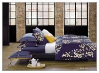 china supplier deep blue flowers pattern duvet cover brand bedding set