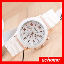 UCHOME New 2015 High Quality Quartz Watch Ladies/Womens/Girls Bling Crystal Stone Jelly Silicone Wrist Watches Hot Sale