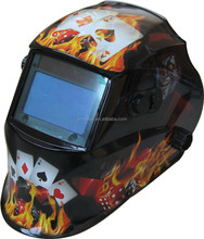an auto darkening welding helmet decaled by Mr.Clown with Poker sticker may has sides adjustment and grinding,cutting function