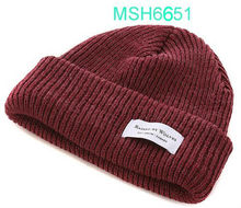 wholesale ribbed beanie with custom woven label/patch (MSH6651)