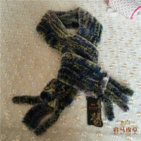 Hand Knitted Good Quality Mixed Color Rex Rabbit Fur Scarves in Factory Price