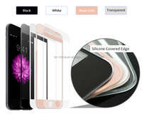 Unique Design Full Cover 2.5D For Iphone6 Tempered Glass Screen Protector With Silicone Edge
