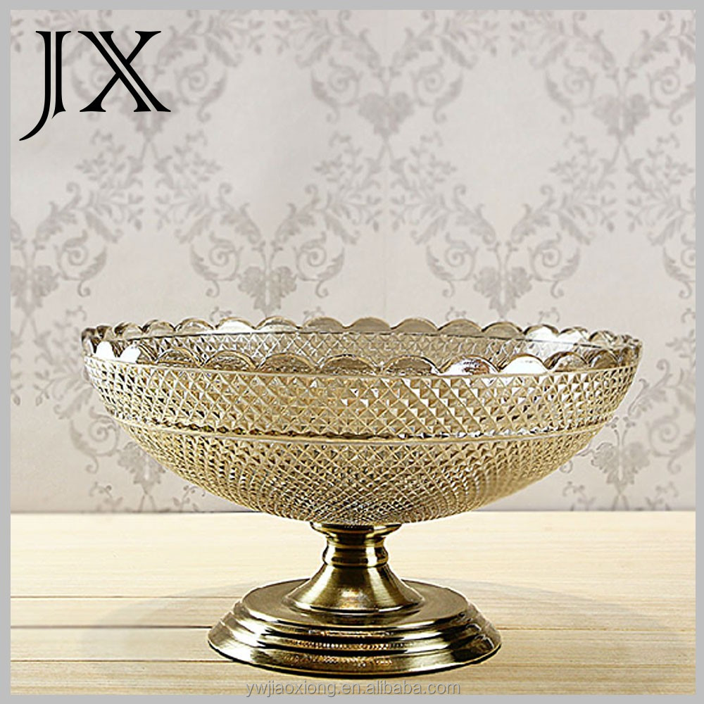 Decorative Glass Product : High qulity crystal decorative glass fruit plate with