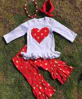 baby clothes children fall boutique outfits heart top pant sets valentines day girls outfit persnickety sparkle girls outfits