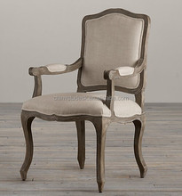Antique wood Louis dining chair with arms