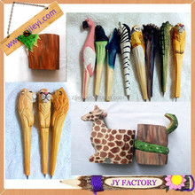 Promotional items china stationery product handmade wood carved animal pens