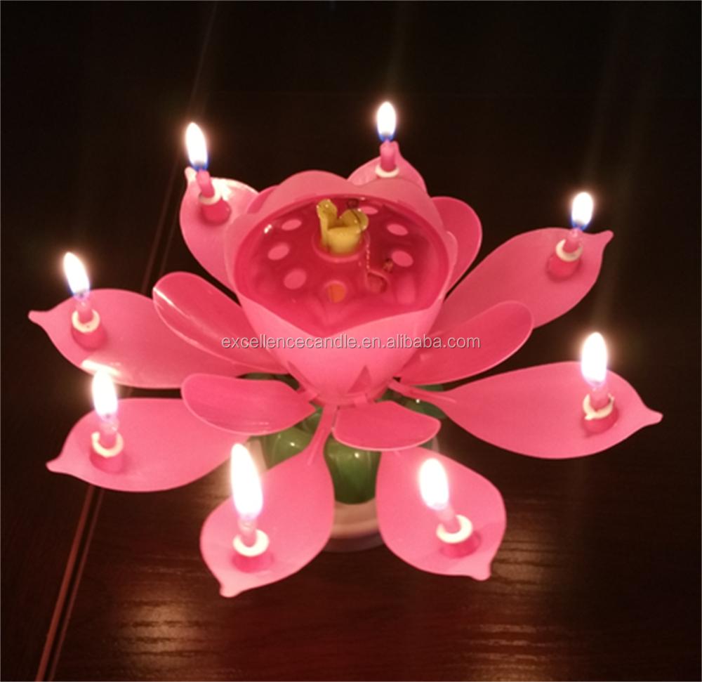 le plus populaire magique lotus g teau d 39 anniversaire bougie joyeux anniversaire musique bougie. Black Bedroom Furniture Sets. Home Design Ideas