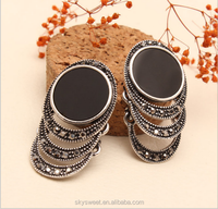 retro black muti layer ring earring,single stone earring designs(swtaa843)