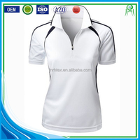 Wholesale Custom Women Cotton Polyester Blend Sports Polo T shirt With Zipper
