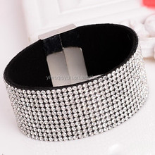 White rhinestone velvet slake bracelet with 12 line bling Magnetic Crystal Rhinestoned Leather Bracelet Bangle
