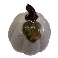 Glazed White halloween Ceramic Pumpkin