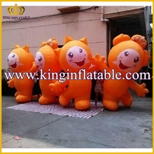 Outdoor Decoration Inflatable Funny Mascot, Orange Inflatable Cartoon Character For Kids