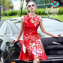 Womens Clothing new elegant temperament Slim large red chinese flower printed dress