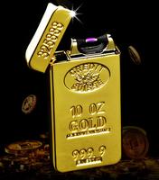 999.9 gold bar plated windproof electronic impulse metal cigarette lighter