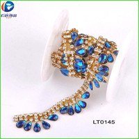 wholesale feather shape blue jeweled shoe clip chain for ladies shoes