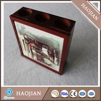 3 round holes wooden pen holder fancy pen holder desktop pen holder with ceramic tile