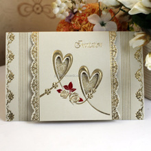 New Arrival Loving Heart Beige Wedding Invitation Card Paper Crafts for Sale