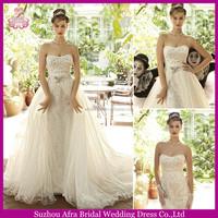 SD1058 detachable skirt wedding dresses 2 in 1 bling wedding dresses removable skirt