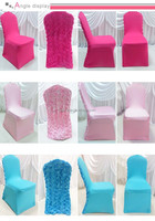 3D Baby pink rosette flower back spandex lycra chair cover