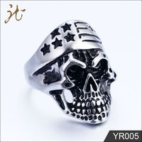 European Popular Stainless Steel Titanium Skull Head Ring