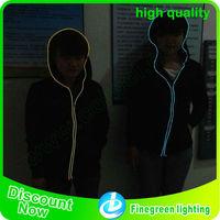 Eyecatching! OEM custom el wire suits/ el wire cloths/ el wire hoodie