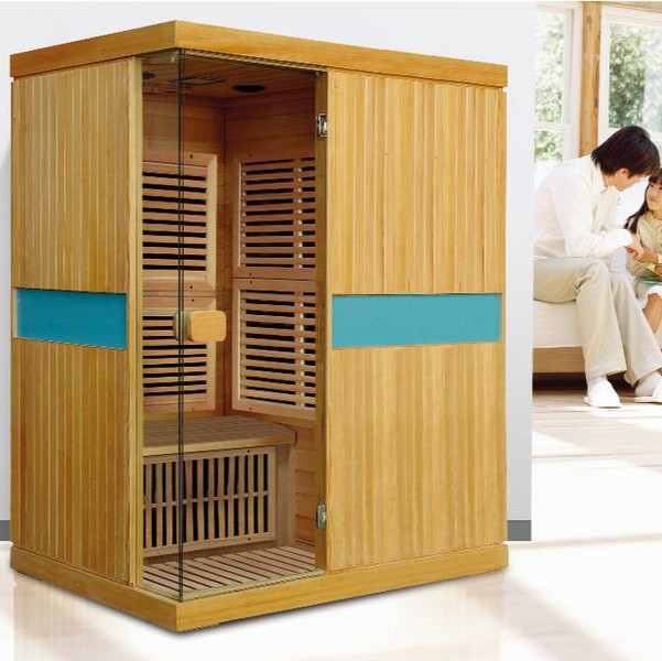 3 person red cedar wood room far infrared home sauna for Cost of building a home sauna