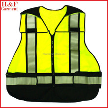 black mesh safety vest with silver reflective trips