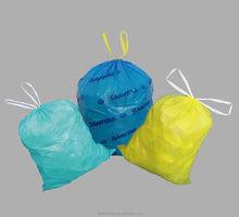Colored plastic drawstring garbage bag manufacture