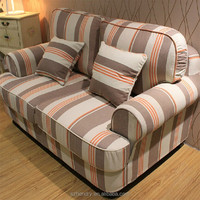 Latest modern fabric sofa / stripe pattern living room sofa
