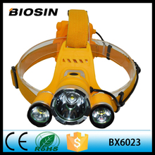 High power 1000 lumen 4 AA Dry battery 3 T6 led Yellow Warning color Head lamp