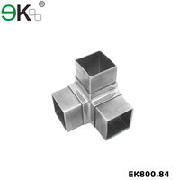 Stainless steel tube connection 3 way square pipe connector