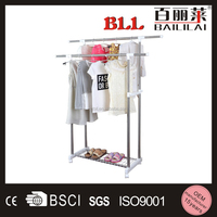 Standing Laundry Steel Hanger Double Pole Cloth Drying Rack and Hanger