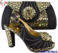 CSB1199 black New designs of low heels shoes/sandals/slippers women shoes matching bag for wedding/party