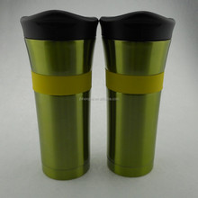 2015 New Style ,Beautity Color ,High Quality,450ml BPA Free Stainless Steel Travel Mug With Middle Silicone Grip And