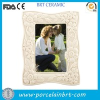 Cheap porcelain white 4*6 inch floral frame picture frame