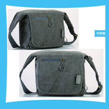 Camera Canvas Bag with grey and Kakki color camera shoulder bag