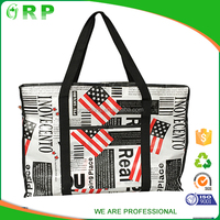 Hot sales promotional black zipper pp woven shopping bag