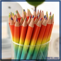 Artist lead wood drawing color pencil mini double side rainbow color pencil