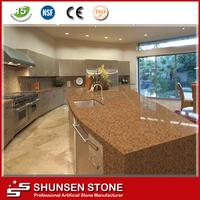 reconstituted stone quartz luxury golden color countertop