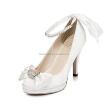 ladies fancy sandal shoe bridal crystal wedding shoe woman with bowtie thick sole sandals