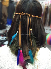 H001-001 latest women hair accessories elastic hain bands colorful rope braided cheap peacock feather headband